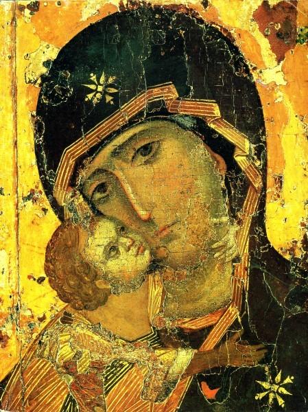 Владимирская икона Богородицы, фрагмент