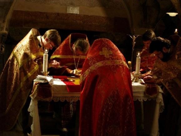 Литургия на мощах апостола Марка в храме святого Марка в Венеции