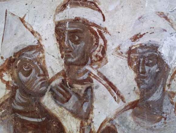 «Народы» из сцены «Сошествие Св. Духа». Собор Рождества Богородицы Снетогорского монастыря. 1313