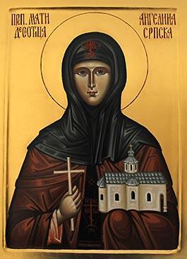 Преподобная Ангелина Сербская. Икона из монастыря Гергетег, Сербия