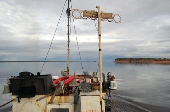 Река Мезень в устье - при впадении в Белое море. Справа - город Мезень, слева - поселок Каменка с ЛДК и морским портом.