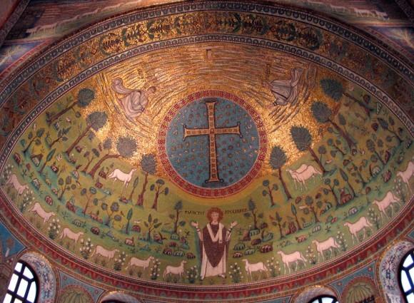 Мозаика апсиды церкви Сант Аполлинаре ин Классе. Сер. VI в. Равенна. Италия