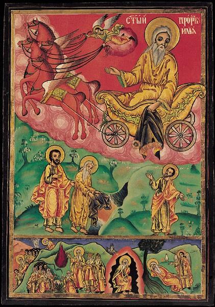 Святой Пророк Илия с Огненным восхождением и сценами жития  Болгария. Вторая половина XIX века.