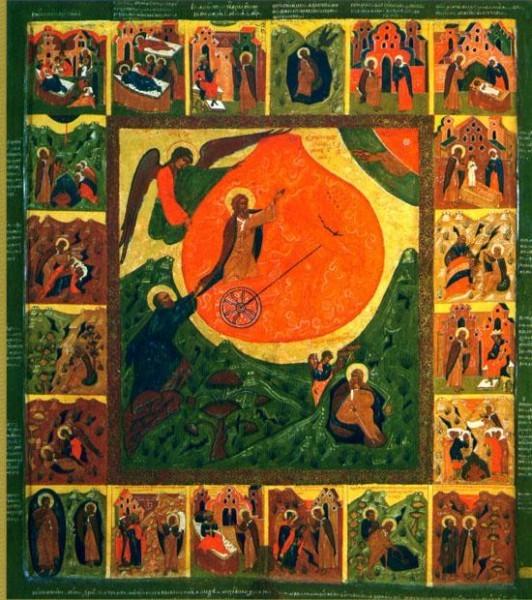 Огненное восхождение пророка Ильи с житием  1647. Игнатий Пантелеев Музей изобразительных искусств, Карелия.