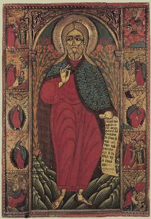 Пророк Илия со сценами жития Болгария. Первая половина XVIII века. Из Капиновского монастыря.