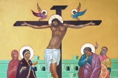 Икона «Распятие Христа»: Столп огненный и облачный