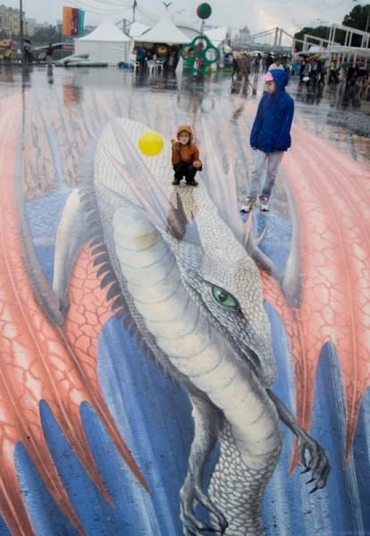 3-D дракон, рисунок  знаменитого граффиста Эдгара Мюллера