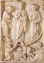Диптих с изображением 12 праздников. Византия. Конец X в. Слоновая кость. ГЭ, Спб. Фрагмент