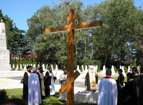 Памятный крест на кладбище советских воинов в г. Залаэгерсег