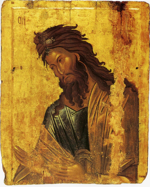 Иоанн Предтеча. Икона XIV века. Место хранения: Афон, монастырь Ватопед