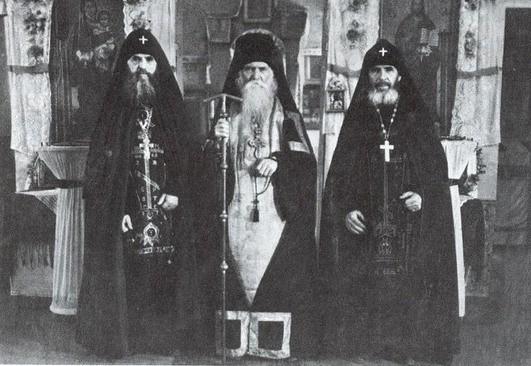 Иеросхимонах Серафим (Романцов), схиархимандрит Серафим (Амелин), схиигумен Андроник( Лукаш). 1950-е гг.