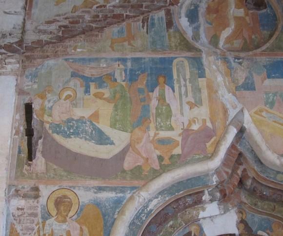Рождество Богородицы. Фреска Дионисия XV век