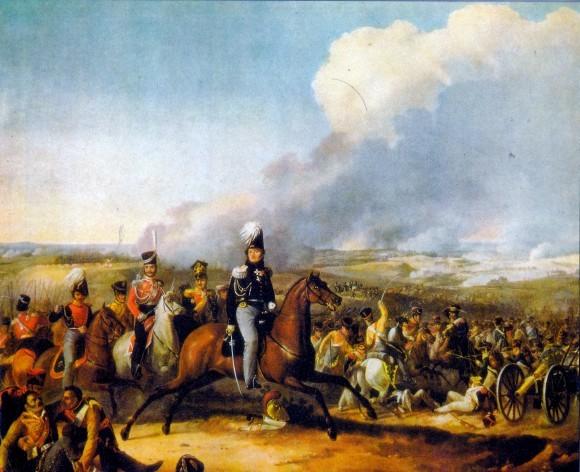 Рейд кавалерии Уварова по тылам французской армии. Сражение при Бородино. Цветная литография с картины О.Дезарно.