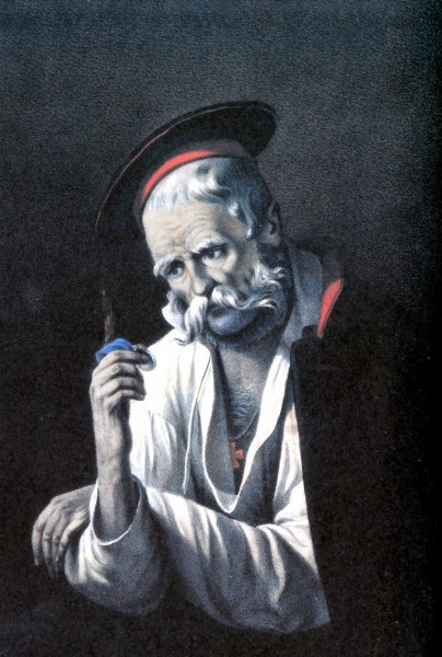 Солдат-ветеран. Раскрашенная литография с картины Р.Жуковского.