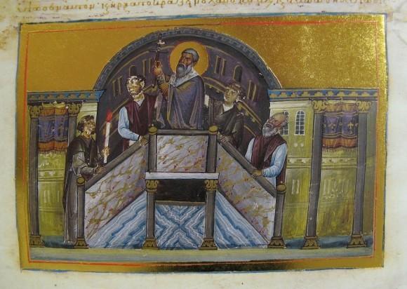 Миниатюра менология императора Василия II. Хранится в Ватикане. 11 век.