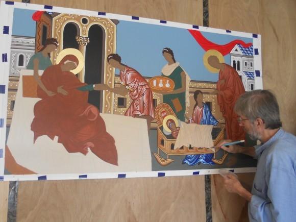 Рождество Пресвятой Богородицы - работа на иконой еще не окончена