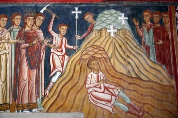 Императрица Елена находит животворящий крест. Капелла Сан-Сильвестро XIII века в римском монастырском комплексе Санти-Куаттро-Коронати