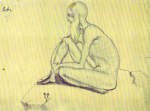 Иов Многострадальный. Рисунок матери Марии; из фондов Колумбийского университета