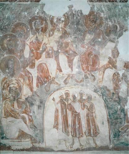Пятидесятница. Фрагмент росписи собора Снетогорского монастыря