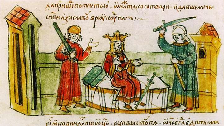 Рюриковичи. Миниатюра из Радзивилловской летописи, ХV век
