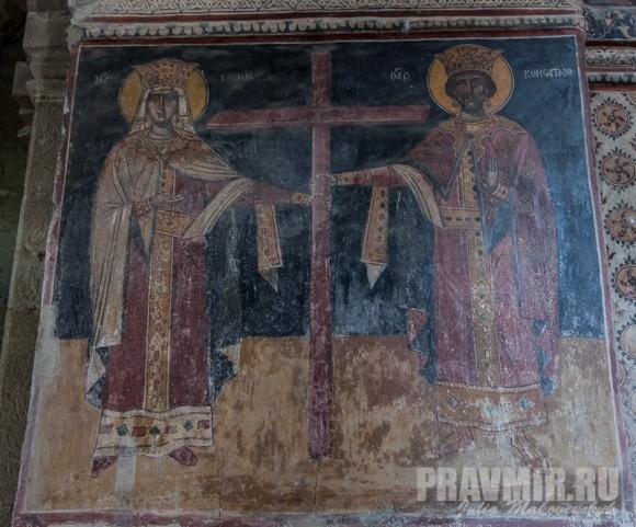 Фреска: святые равноапостольные Константин и Елена