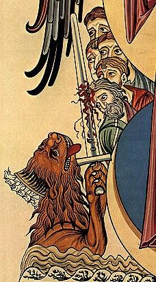 Апокалиптический зверь с семью головами, выходящий из моря. На каждой голове его – имена богохульные. Фрагмент миниатюры Геррады Ландсбергской, конец XII века