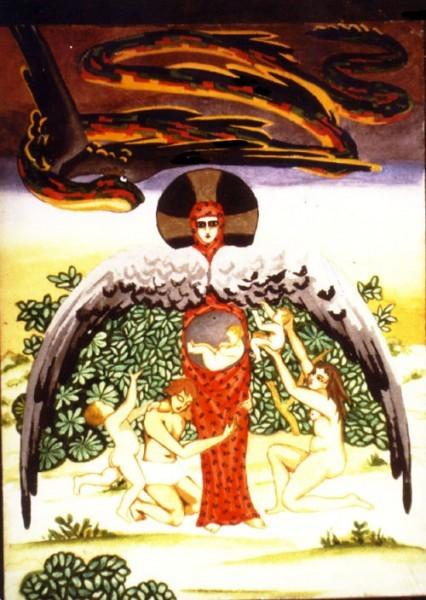 """Акварель 1915, Символическое изображение """"Змий искуситель""""- добро и зло"""