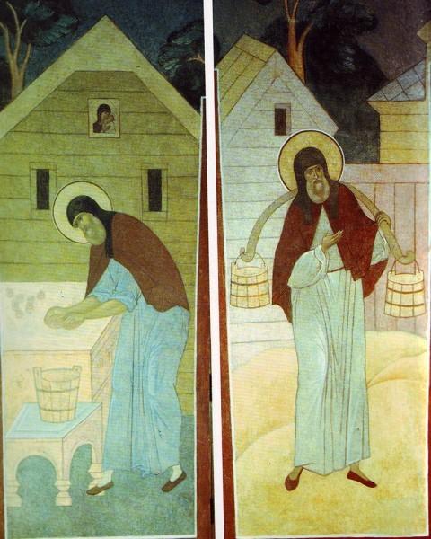 Служа всем, преподобный Сергий сам носил воду, рубил дрова и, будучи игуменом, всегда пек просфоры. Роспись Серапионовой палаты