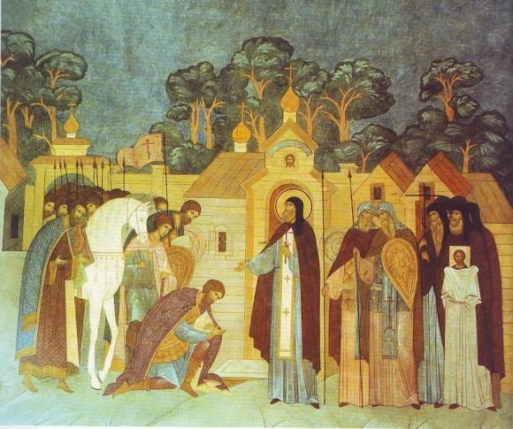 Преподобный Сергий Радонежский благословляет великого князя Московского Димитрия Донского на Куликовскую битву и предсказыает ему победу. Роспись Серапионовой палаты