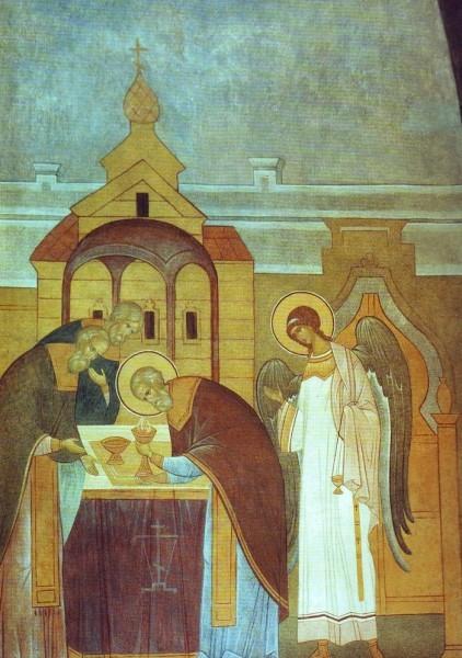 Прп. Сергий во время Божественной Литургии сподобился видимого сошествия Святого Духа в образе огня на Святые Дары и сослужения Ангела.