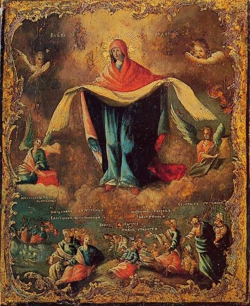 1760-е г. Вариант, соединяющий детали иконографии «Всех скорбящих Радость» и «Покров». ГосНИИР, Москва