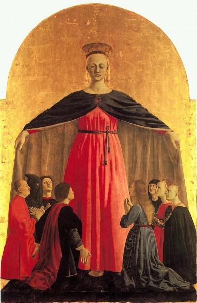 Мадонна делла Мизерикордия. Пьеро делла Франческа. Ок. 1460 г. Центральная часть полиптиха. Коммунальная пинакотека,Сан-Сеполькро