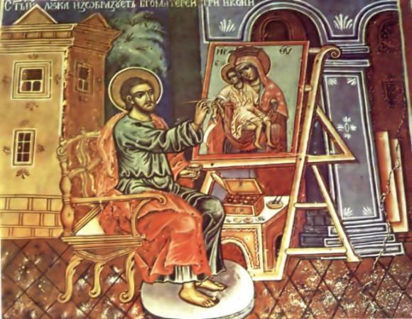 """Ап. Лука пишет икону """"Одигитрия"""". Фреска 1799 г., храм св. Луки, Рыльский монастырь"""
