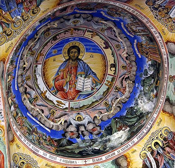 Иисус Христос Вседержитель. Фреска из притвора храма Рождества Богородицы, Рыльский монастырь