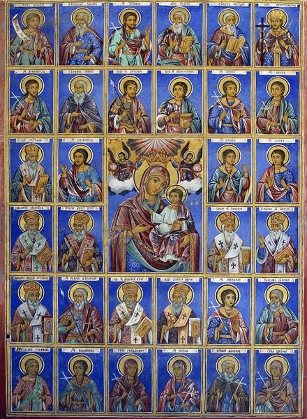Одигитрия с иконами святых, мощи которых находятся в рамке иконы. Фреска из притвора храма