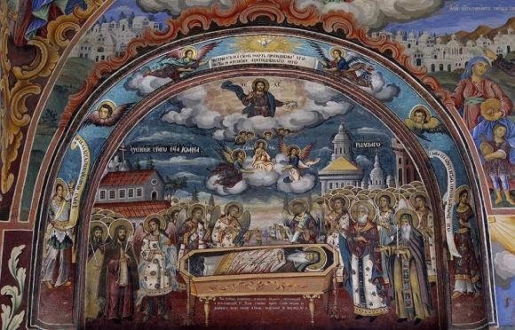 Успение св. Иоанна Рыльского. Фреска из притвора храма Рождества Богородицы
