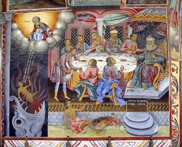Притча о богаче и Лазаре. Фреска из притвора храма Рождества Богородицы
