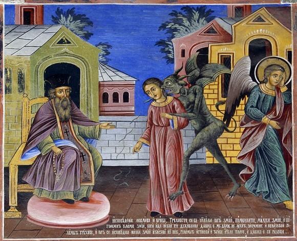 Лживая исповедь и сокрытие грехов. Фреска из притвора храма Рождества Богородицы