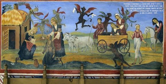 Фреска из притвора храма Рождества Богородицы