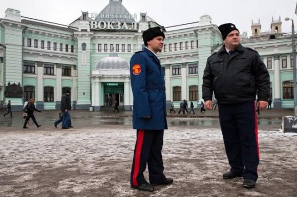 Казачий патруль на Белорусском вокзале
