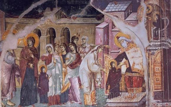 Мануил Панселин. Фреска Успенского собора Протата, Карея, Афон. Кон. XIII — нач. XIV в.