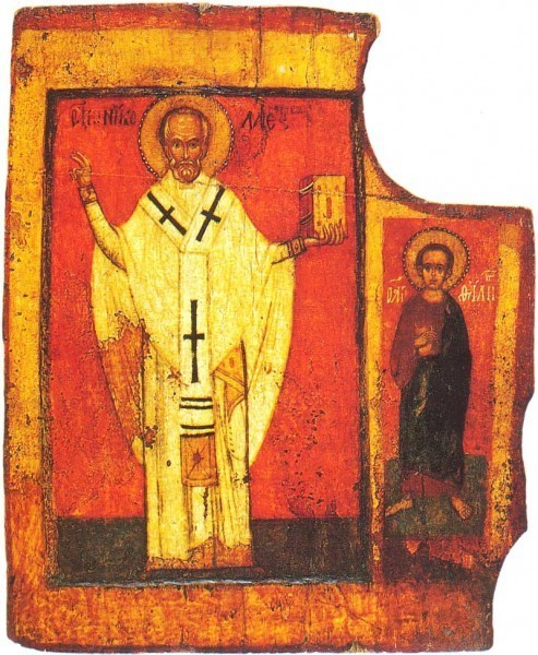 Никола Зарайский и ап. Филипп. 1-ая половина XIV в. Новгород. ГТГ, Москва