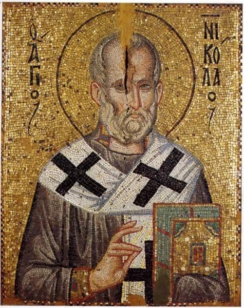 Николай Чудотворец. Мозаика из монастыря Ставроникита. XIII в. Афон, Греция