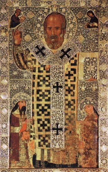 Николай Чудотворец. Икона, вложенная в 1327г. сербским царем Стефаном III (Урошем) в базилику св.Николая. Бари, Италия