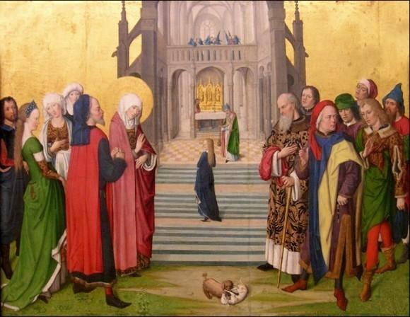 Мастер жития Марии. Деталь алтарь Девы Марии. 1460—1465 гг. Старая пинакотека, Мюнхен, Германия
