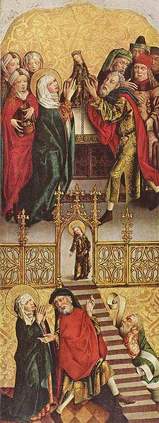 Мастер алтаря Реглера. Алтарь Девы Марии; левая створка внутри. 3-ая четв. XV в. Старая Пинакотека, Мюнхен