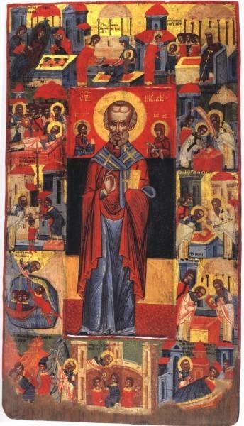Свт. Николай с житием. XVII в. Музей икон, Охрид, Македония