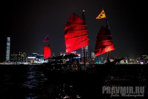 прогулка на кораблике, ночной Гонконг