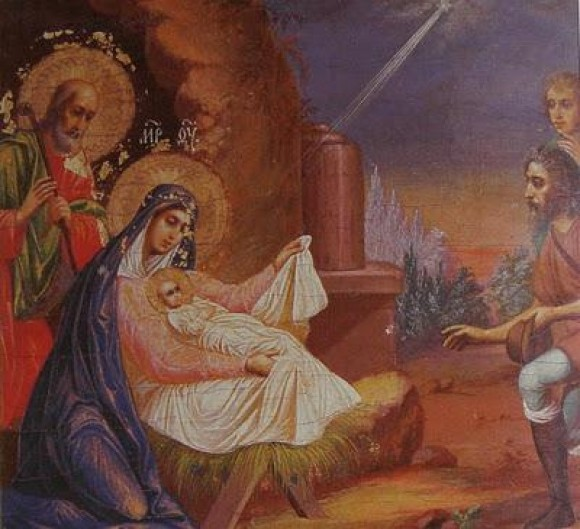 Андреевский скит. Рождество Христово. Икона из иконостаса параклиса Святого Иннокентия. 1880 г. (фрагмент)