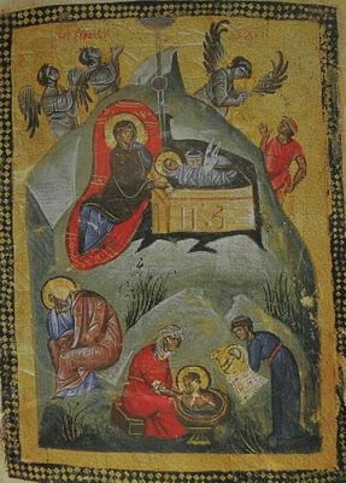 Монастырь Ватопед. Миниатюра из рукописи 13 в.